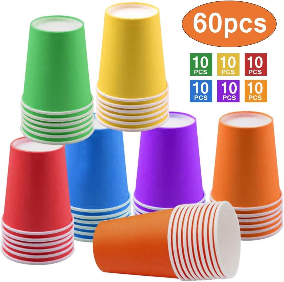 60 Piezas Vasos de Papel Desechables Tazas de fiesta, Vasos Carton de Colores Biodegradables 9 Ounces para Servir el Café, el Té, Bebidas Calientes y Frías,Bodas, Bricolaje