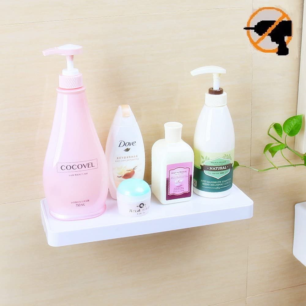 Fealkira Suction Cup Floating Bathroom Shelf Shower Rack,Easy Installing for Kitchen//Shower /& Living Room//Office Suction Cup