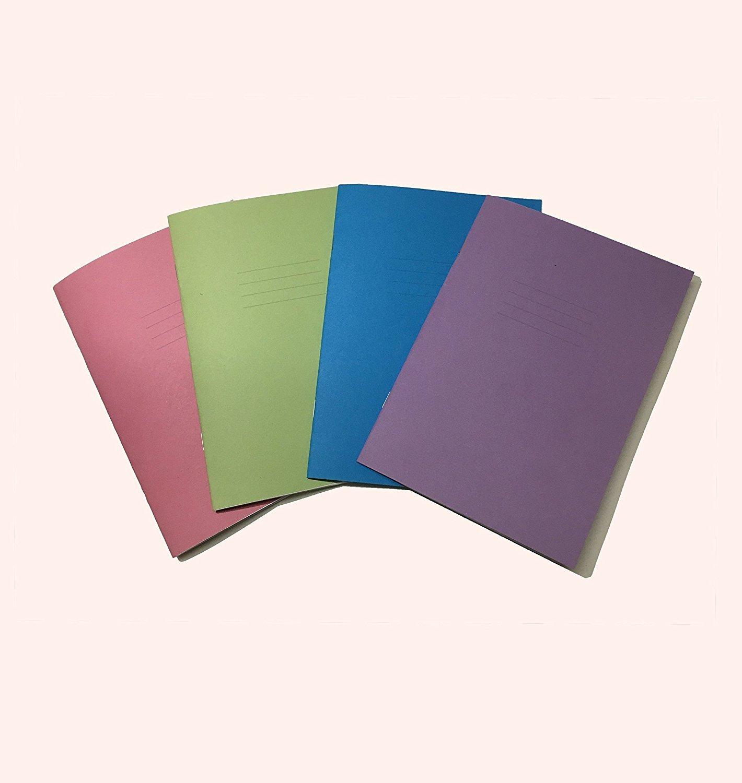Scuola quaderni A5–64pagine 4colori assortiti di–5mm quadrati senza margine–Confezione di 5–da party Decor