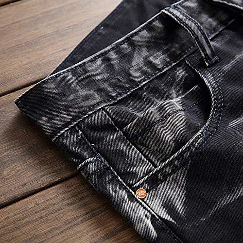 Ragazzi hop Casual Pantaloni Denim Classiche Uomo Nero Confortevoli In Da Stretch Skinny Jeans Hip Retrò Morbido vwq6a