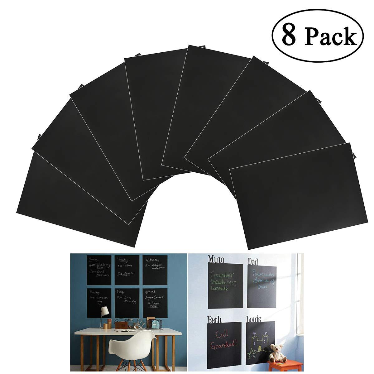 NUOLUX Rimovibile A4 dimensioni lavagna Wall Sticker Decal con 1 gesso 8pcs (nero)