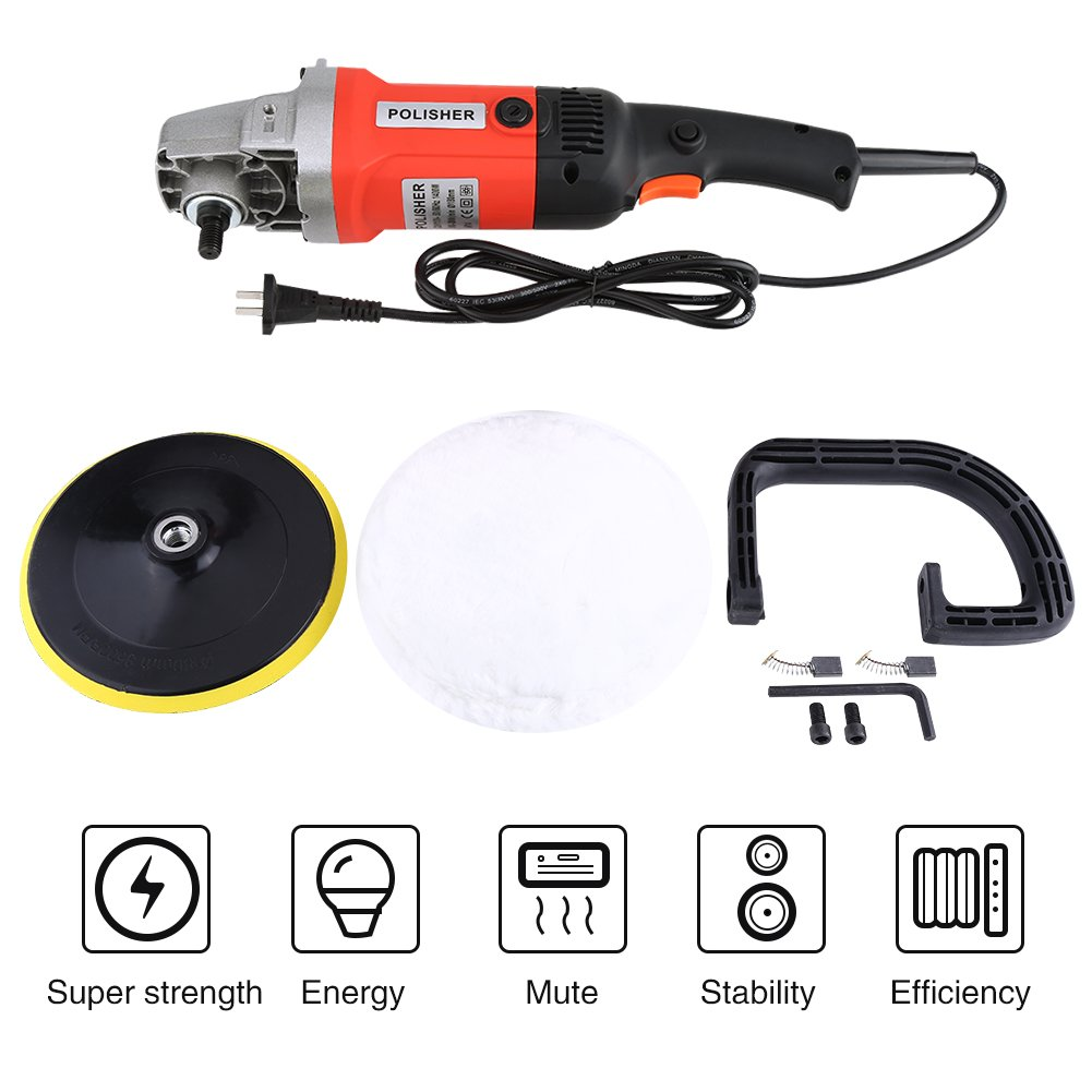 Yosoo Electric Car Polisher, 6 Variable Speed 7'' Electric Car Polisher Polishing Machine Buffer Waxer Sander US Plug
