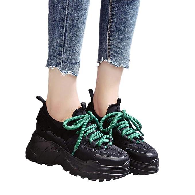 Zapatos Wedge Sneakers Mujer,JiaMeng Casual Plataforma Deportiva Aumento Zapatos Altos Cabeza Redonda con Cordones Planos Planos: Amazon.es: Ropa y ...