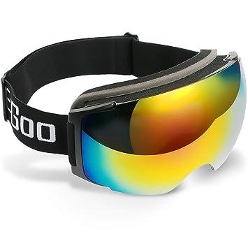 7e40c6f9ee Lunettes de Ski EzGoo Masques de Protection Snowboard Aimant, Vue  Panoramique avec Antibuée et Détachables