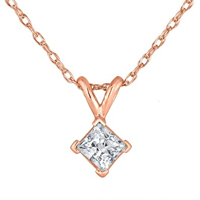 2caf5e8a26925 Amazon.com  Princess Cut Diamond Solitaire Pendant Necklace in 14k ...