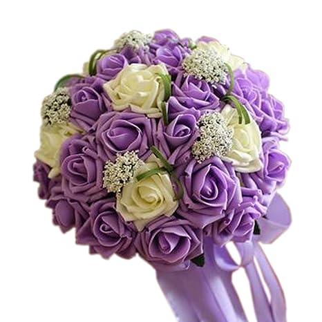 Amazon.com: Hermoso ramo de flores artificiales de novia ...