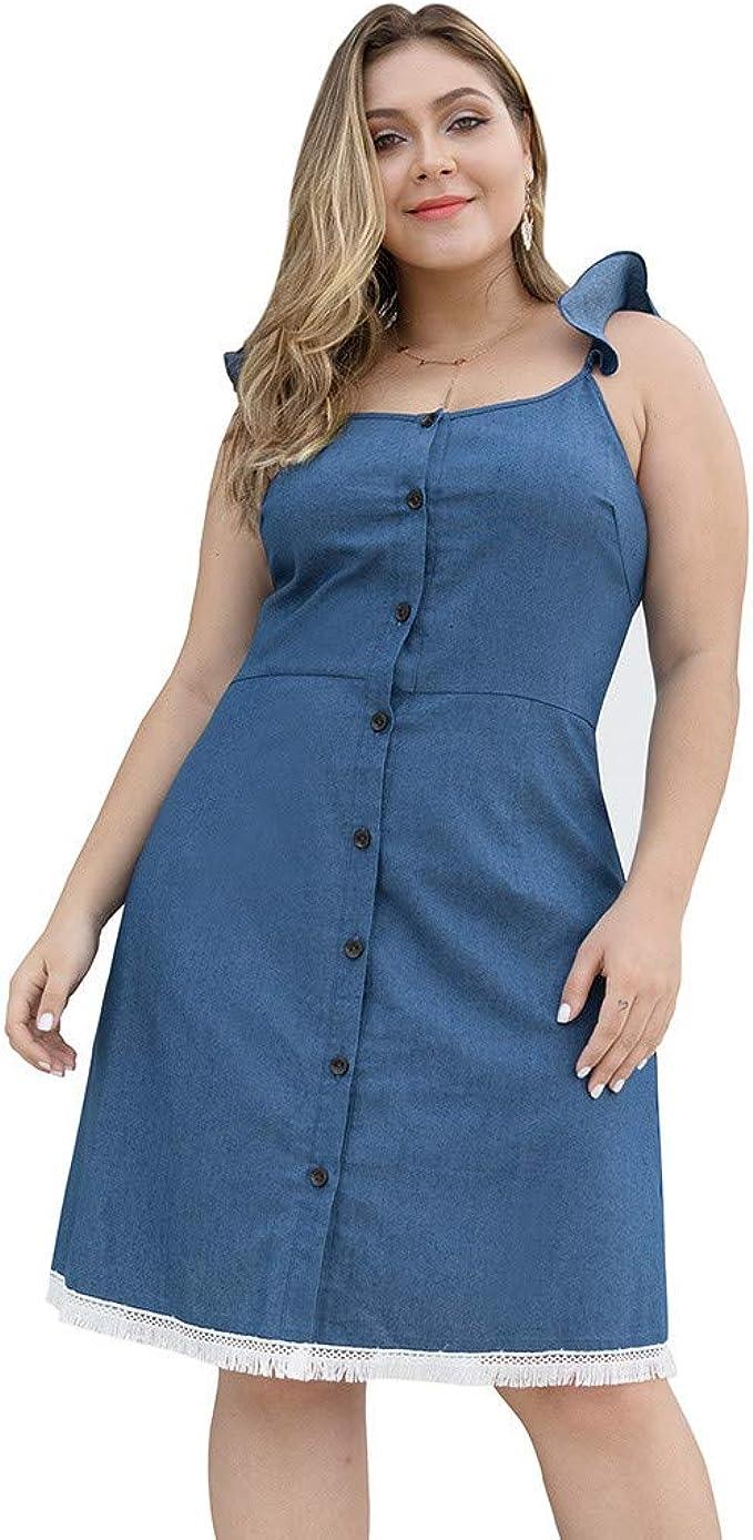 Mikilon Womens Plus Size DRSS Ruffle Strap Button Down Plain Denim Midi Casual Dress