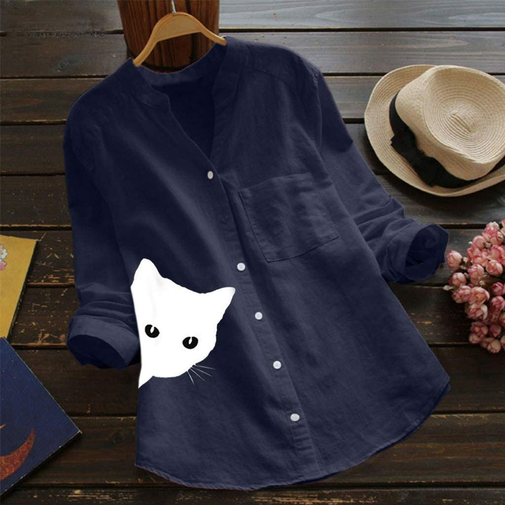 Women Cotton Linen Shirt,Womens Casual Pullovers V-Neck Printed Cat 3//4 Sleeve Tunics Irregular Vintage Blouse to