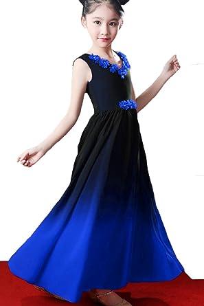 df7cee394ad2 ZVOCY Chiffon Gradient Aline Flowers Girls Dresses Wedding Ombre Long  Pageant Dresses Black Royal Blue 2
