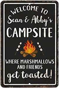 Pattern Pop Personalized Welcome to The Campsite Where Marshmallows and Friends Get Toasted Metal Room Sign