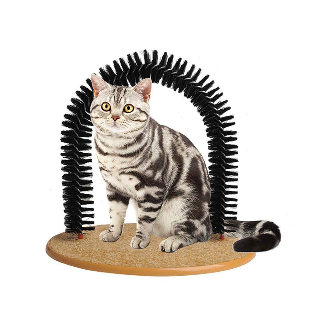 Kobwa Cat Arch Self Groomer masseur Groom jouet pour chien brosses pour animal domestique Chiot à chat Jouets fourrure Toilettage jouet pour chat Brosse commandes Chute avec scratch Pad et Interactive à herbe à chat chaton Jouets