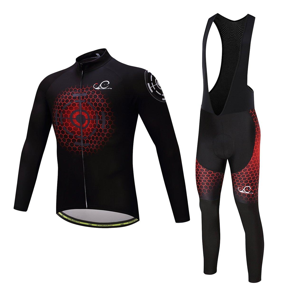 Cycearth Cycling Jersey Long Sleeve Set Men Winter Fleece Thermal Jackets Black Bib Pant (M, Ce603) by Cycearth