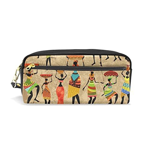 c57540035b5e Amazon.com : BETTKEN African Tribal Women Pattern PU Leather Pencil ...