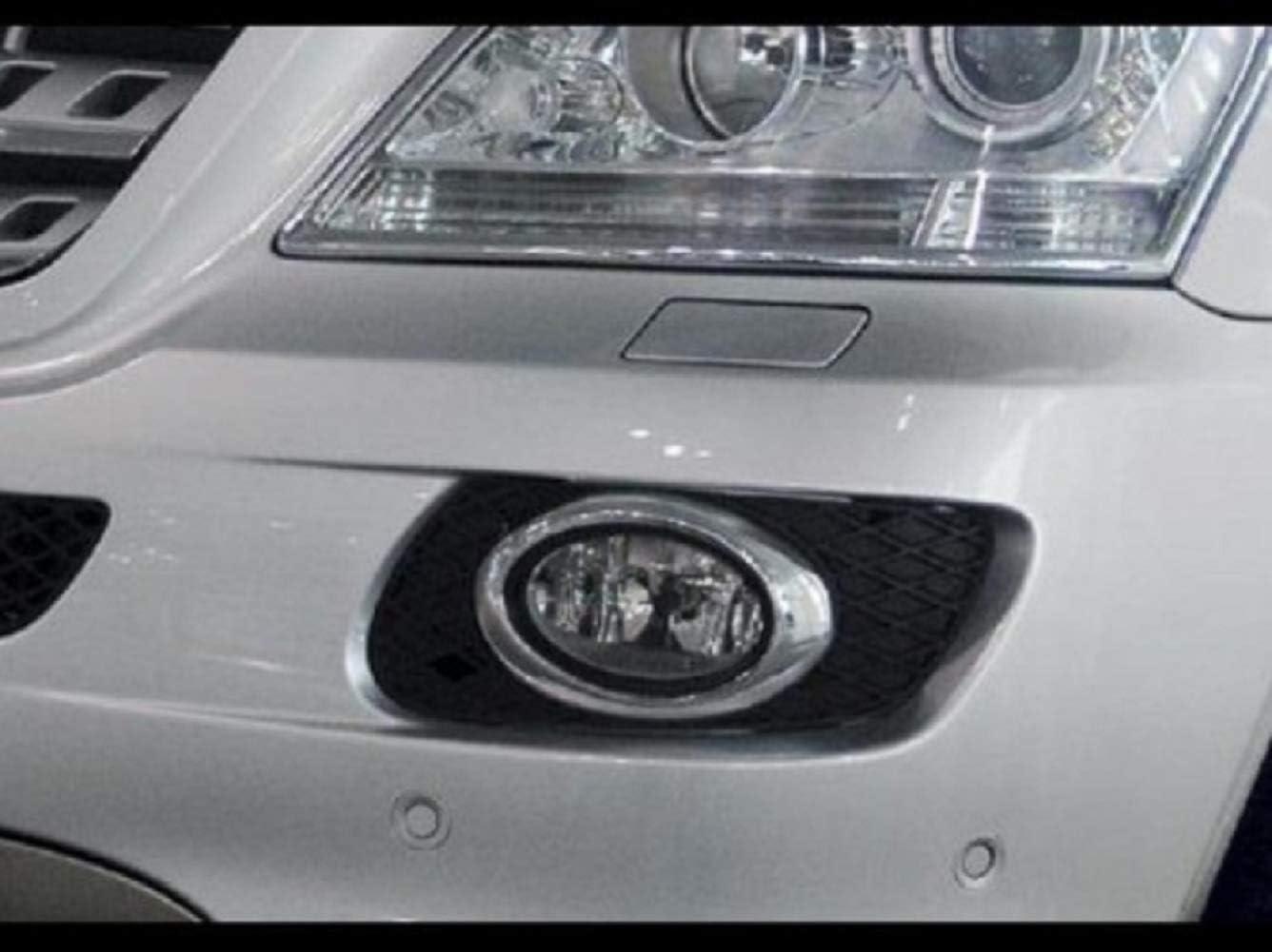 Haneex Chrome Front Fog Light Cover Trim Fog Light Cover Frame Set for Mercedes Benz W164 ML Class 05-08 Oval Type