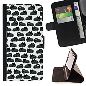 For HTC One M8 Grey Black Cats Wallpaper Drawing Style PU Leather Case Wallet Flip Stand Flap Closure Cover