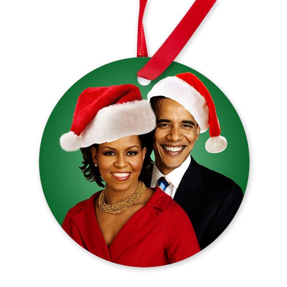 Amazon.com: CafePress - Obama Christmas - Round Christmas Ornament ...