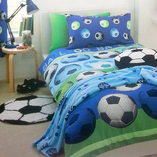 Einzel Bettüberzug Bettwäsche Blau Weiß Fußball Muster Set für Einzelbetten