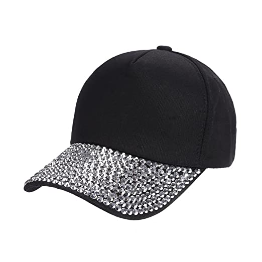5e7dfb67f5d1c Yezijin Womens New Fashion Baseball Cap Rhinestone Paw Shaped Snapback Hat  (Black)
