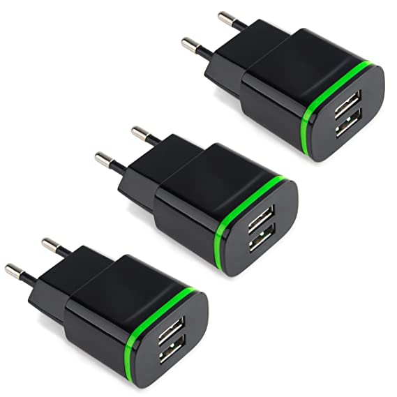 amazon com power 7 european plug adapter travel charger 3 pack 2 1 rh amazon com