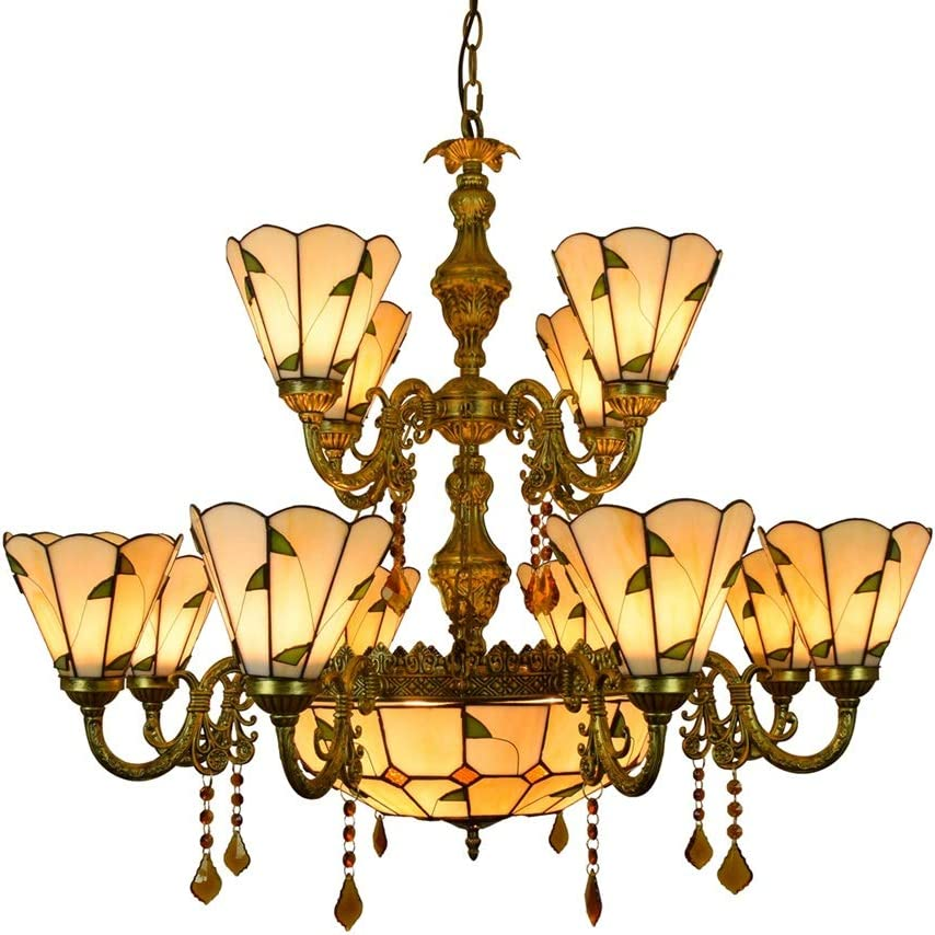 Tiffany lámpara de la lámpara 12 Jefes de la lámpara de Tiffany grande caliente de la lámpara de cristal de estilo hojas verdes de cristal de la lámpara pendiente for Vestíbulo Sala de estar Restauran