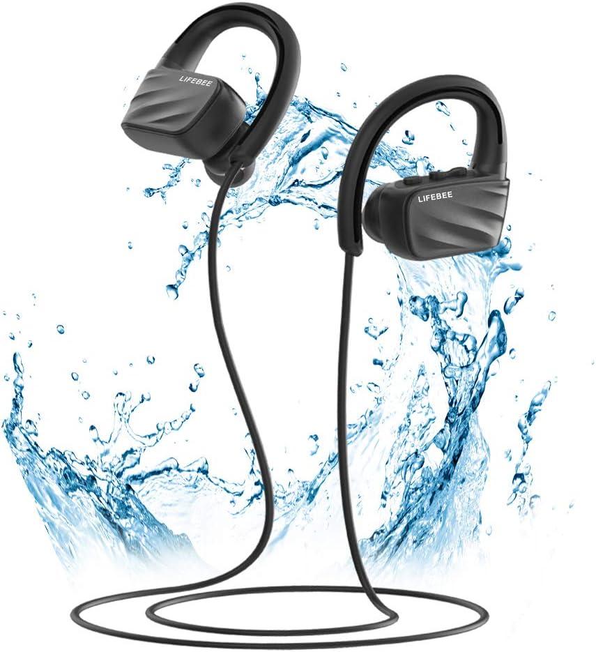 Écouteur Bluetooth, LIFEBEE IPX7 Étanche Oreillette Bluetooth Sport HiFi Stéréo Ecouteurs sans Fil Antibruit Oreille pour Sport, Gym, Jogging,
