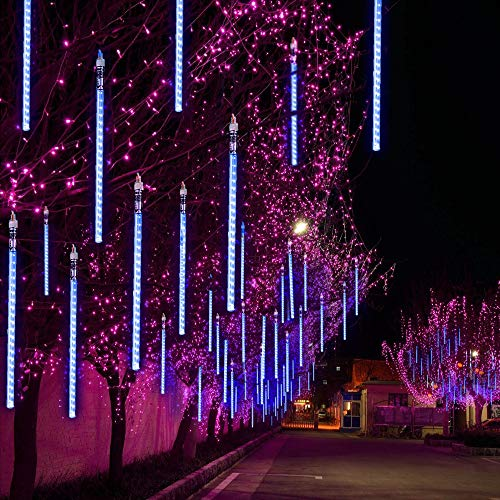TianNorth Upgraded 50cm 8 Tubes 432 LED Meteor Shower Lights,8 Ultra Bright LED Waterproof cicle Raindrop Lights 19.68 inches Tubes for Christmas,Tree,Wedding, Party,Yard,etc -