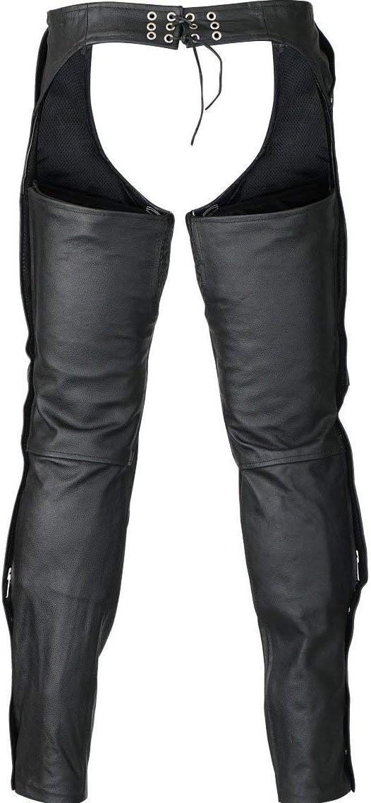 Mens Motorcycle Biker 3 Pocket Removable Liner Blk Leather Chap Pant adustalbe waist buckle 2XL