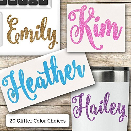 Glitter Name Vinyl Decal for Her RTIC Ozark Trail and Yeti Tumblers Laptops MacBooks and More