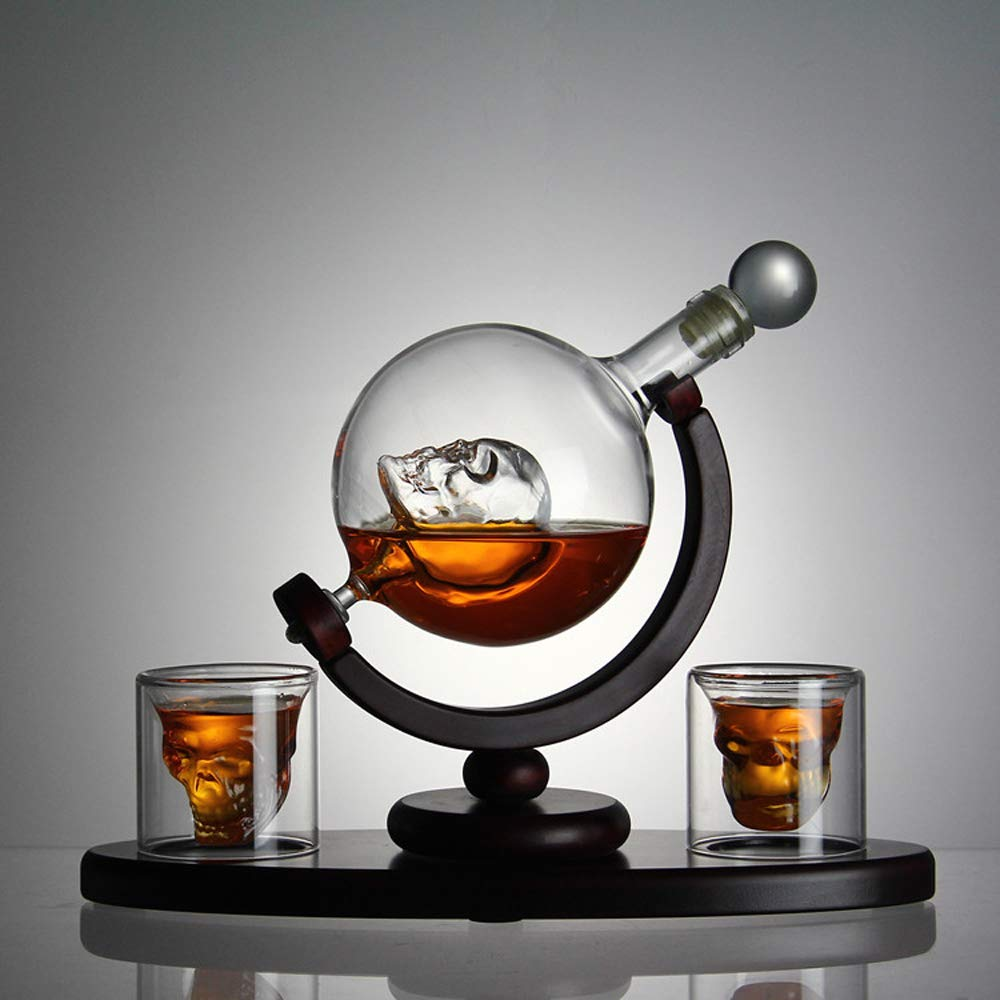 Skull Whiskey Decanter with Ice Cube Trays 2 Etched Globe Glasses Pour Funnel Liquor Dispenser for Liquor, Scotch, Bourbon, Vodka - Perfect Present 800 Milliliter