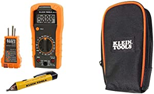 Klein Tools 69149 Multimeter Test Kit, Klein Multimeter, Noncontact Voltage Tester and Outlet Tester, Leads and Batteries Included & Multimeter Carrying Case Klein Tools 69401