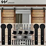 WINSOON Decorative Double Sliding Barn Wood Door Hardware Cabinet Closet Kit Black Straight Style Rolling Flat Track Set (7.5FT /90'' 2 Doors Track Kit)