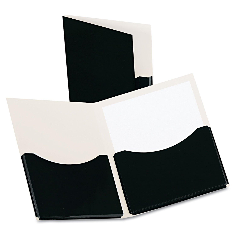 Oxford Double Stuff Gusseted 2-Pocket Laminated Paper Folder, 200-Sheet Capacity, Black (OXF54406)