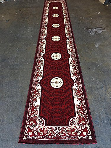 Traditional Long Rug Runner Red Design #101 (32in.x10ft.)
