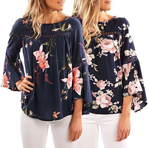 6a4229bfb124 ... iBaste Fashion T-Shirt Damen Langarmshirt Blusen mit Floral Lockere  Oberteile Tunika Blau-A ...