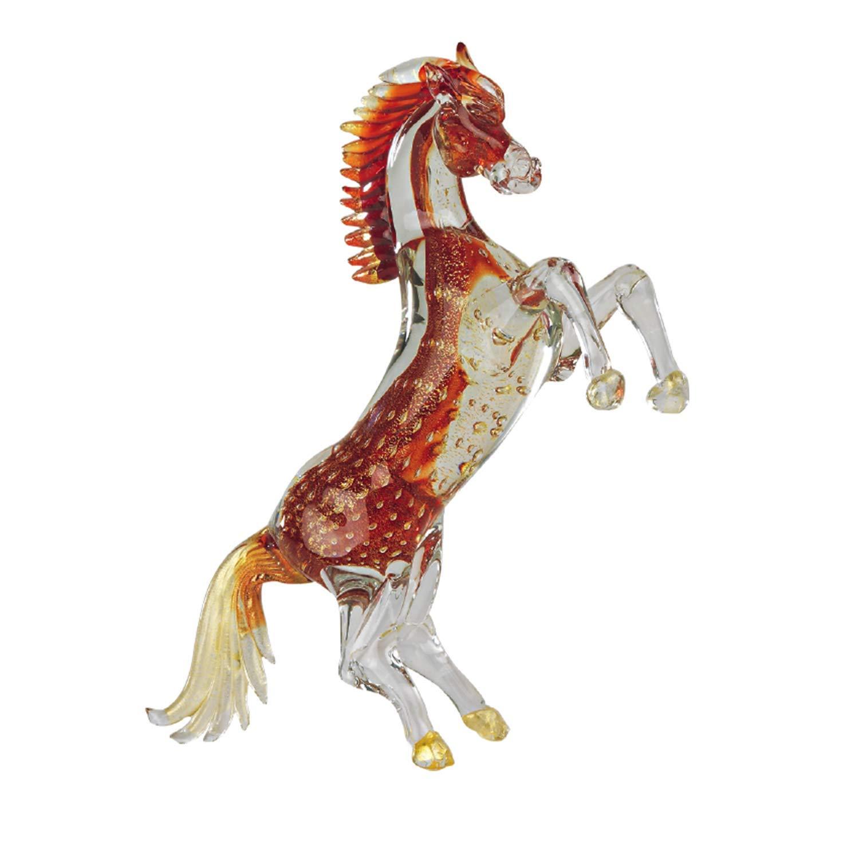 Art of Murano Horse with Feet Bubbles Media Rosso Oro