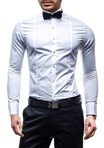 BOLF Hombres Elegante Camisa del Smoking y del Vestido 4702 Blanco M [2B2]: Amazon.es: Ropa y accesorios