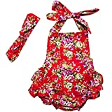 DQdq Baby Girls' Floral Print Ruffles Romper Summer Dress (6 Month, Red Rose)