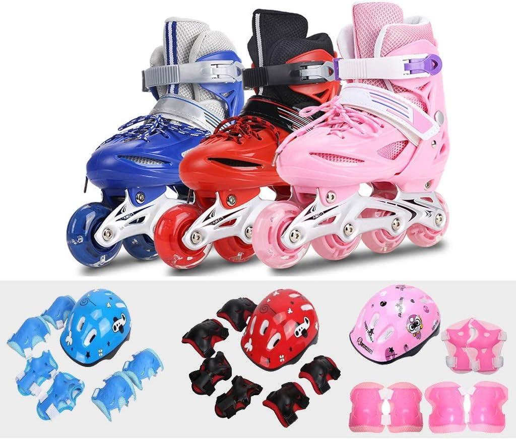 WEN インラインスケート、 4ラウンドのスケート 子供用単列ローラースケート フルフラッシュ ヘルメット+保護具 ブラックピンクブルー ローラースケート Inline skate (色 : 青, サイズ さいず : M(EU30-EU33))