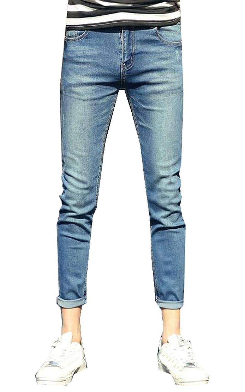 MLG Mens Basic Style Washed Denim Flat-Front Slim Fit Jean Pants