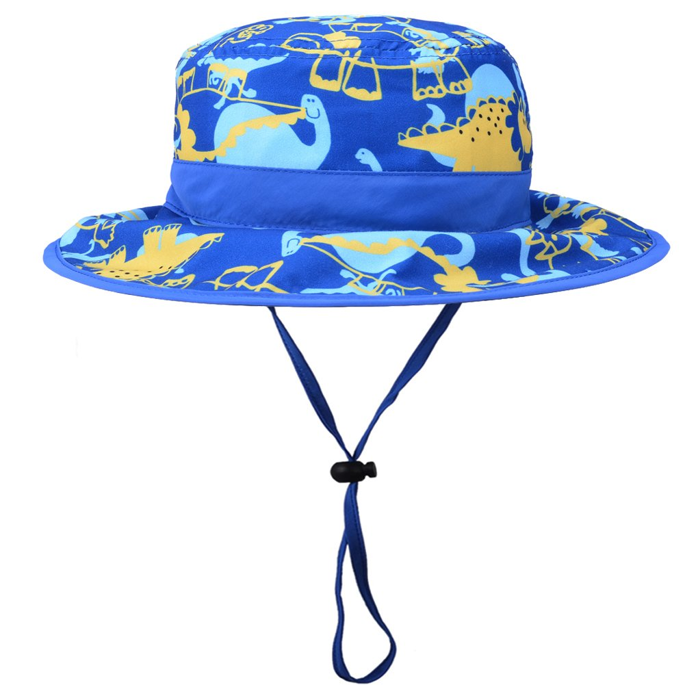 Baby Boys Reversible Bucket Hat - Toddler Kids UPF 50+ Sun Protection Dinosaur Sun Hat with Chin Strap (21.3''/4-6 Years, Blue Dinosaur)