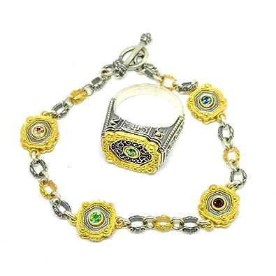 Hecho a mano antiguo bizantina Anillo de plata de ley 925 A juego pulsera 18 K chapado en oro de cristales de Swarovski tamaño 8 anillos de boda: Amazon.es: ...