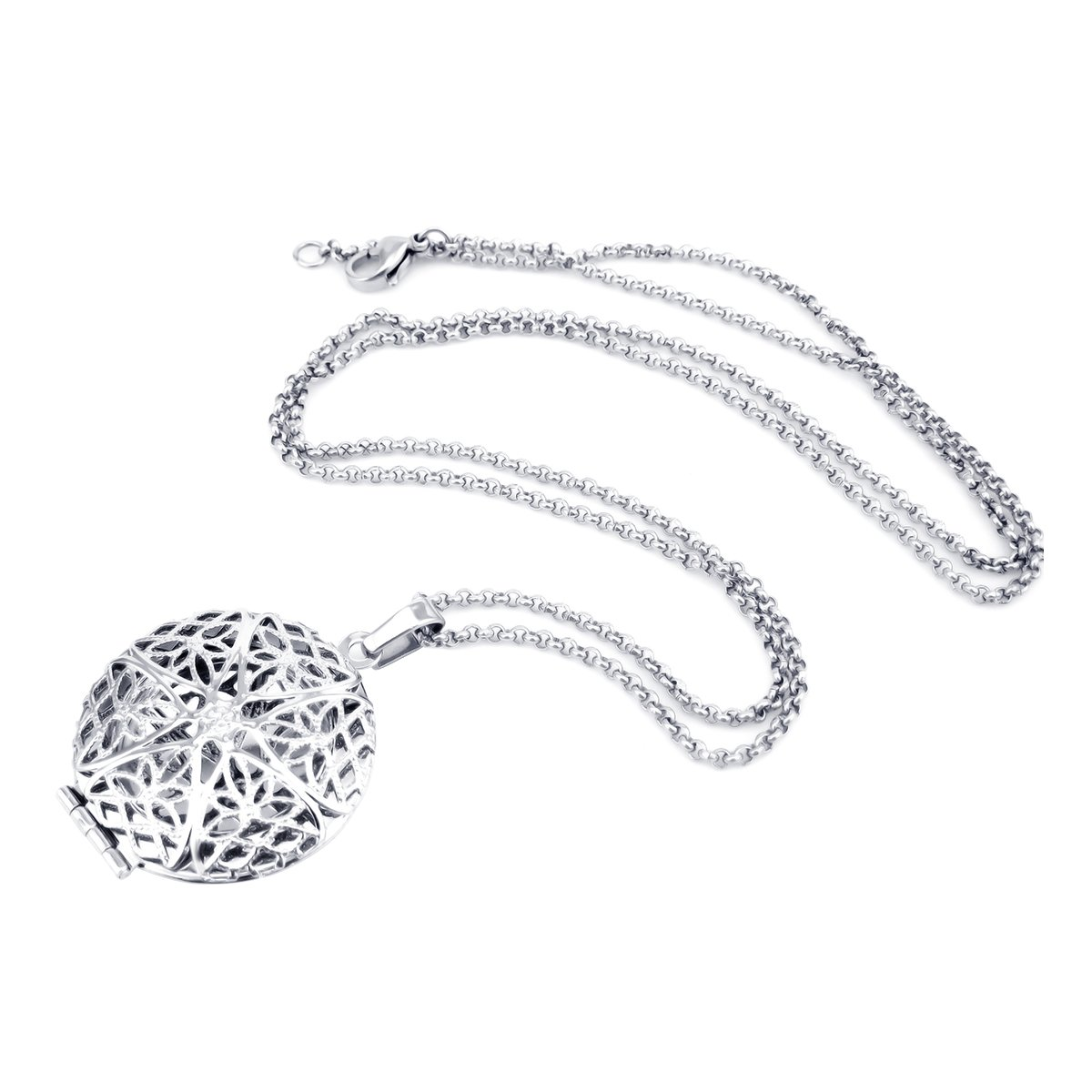 Essential Oil Pendant Necklace Filigree Locket Stainless Steel Jewelry For Women