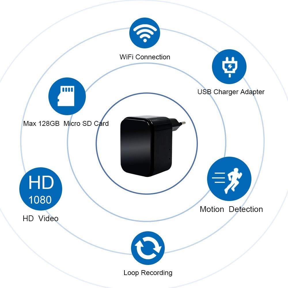 Oculta WiFi Cargador USB 1080P HD Cargador con C/ámara TANGMI Detecci/ón de Movimiento C/ámara de Seguridad Secreta Control App