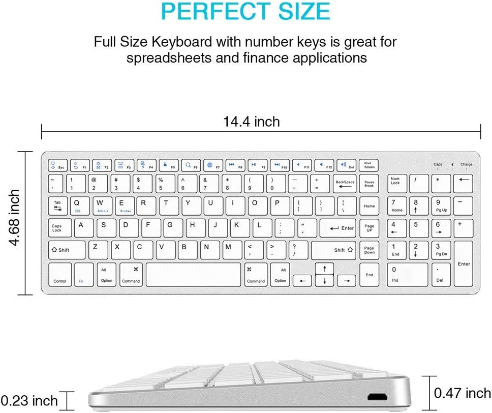 White Rechargeable Bluetooth Keyboard,Portable BT3.0 Wireless Keyboard with Number,for Laptops PCs Phones
