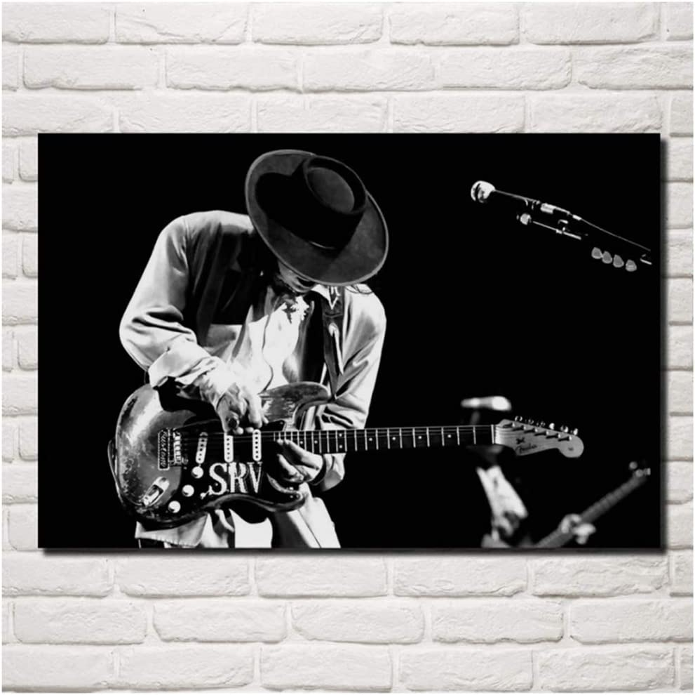 NRRTBWDHL Stevie Ray Vaughan Musik Gitarrenmusiker Blues Rock Monochrom Wohnzimmer Home Art Dekoration Holzrahmen Stoff Poster 50x75cm No Frame