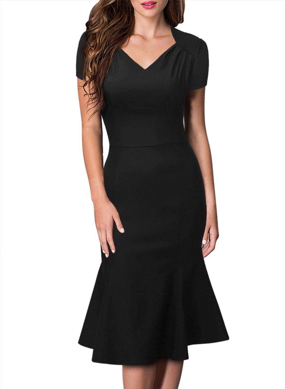 Huada Women's 40s Flared Rockabilly Vintage Prom Bridesmaids Skater Tea Dresses XL Black