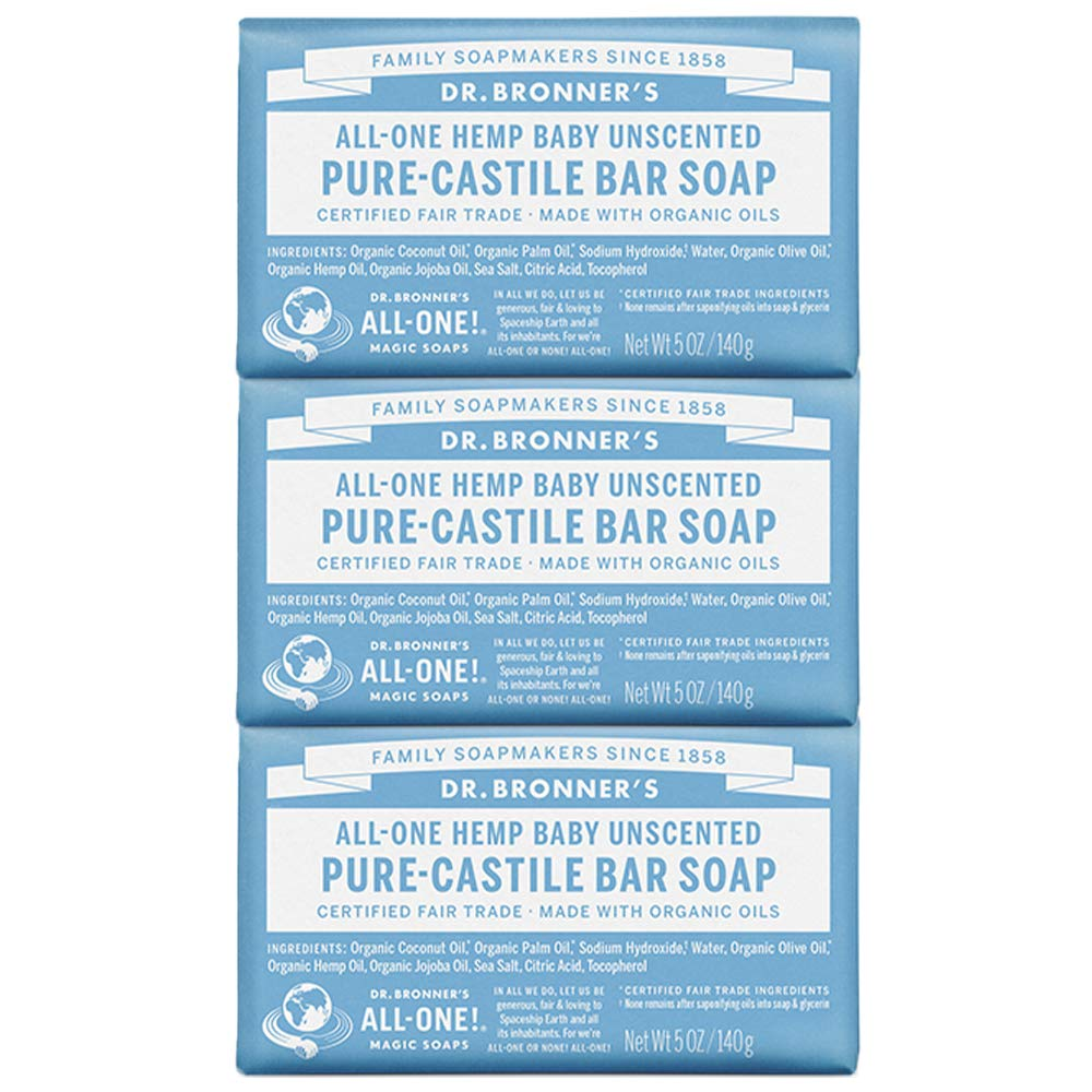 Dr. Bronner's - Pure-Castile Bar Soap (Baby Unscented, 5 ounce, 3-pack) - Made with Organic Oils, For Face, Body, Hair, Gentle for Sensitive Skin, Babies, No Added Fragrance, Biodegradable, Vegan by Dr. Bronner's