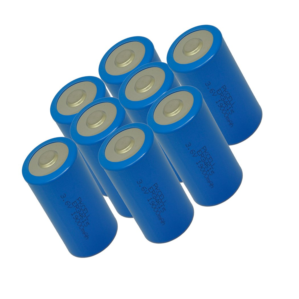 D Cell Lithium Battery ER34615 With High Capacity 19000mAh (8pc) by PKCELL