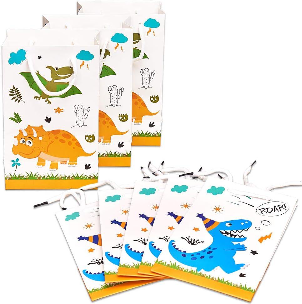 WERNNSAI Bolsa de Regalo de Dinosaurio - Paquete de 16 Bolsas de Fiesta de Papel para niños cumpleaños Bebé DuchaFavor de Las Fuentes del Partido Tratar Bolsas de Regalos con asa