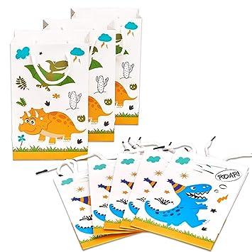 WERNNSAI Bolsa de Regalo de Dinosaurio - Paquete de 16 Bolsas de Fiesta de Papel para niños cumpleaños Bebé Ducha Favor de Las Fuentes del Partido ...